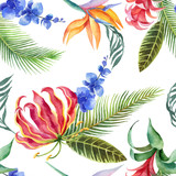 Watercolor seamless pattern of tropical leaves and bright exotic flowers isolated on white background. - 208741680