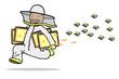 Imker mit Honigwaben rennt vor Bienen davon - 208742683