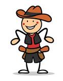 Kind als Cowboy verkleidet zum Fasching - 208742613