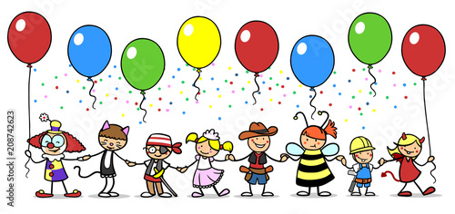 Gruppe Kinder beim Karneval feiern im Kostüm