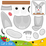Funny gray hare. Rabbit. Education paper game for preshool children. Vector illustration. - 208743232