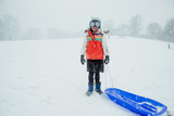 Snowy Portrait of a Girl with Sled - 208743632