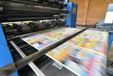 newspaper printing with a roller offset printing machine in a printing house // drucken einer Tageszeitung in einer Großdruckerei mit Rollen-Offset Maschine  - 208750290