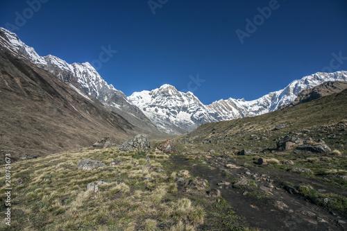 Aluminium Nachtblauw Himalaya Annapurna Sonnenstrahlen Berge Hiking