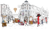 Series of the street cafes with people, men and women, in the old city, vector illustration. Waiters serve the tables.