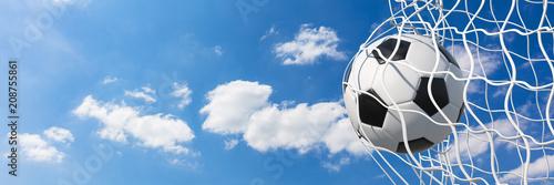 Panorama Fußball im Tor vor blauem Himmel