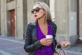 Perfect Young Woman with Coffee Cup on Urban Street - 208756005