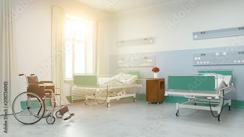 Słoneczny pokój typu twin w domu opieki lub w szpitalu