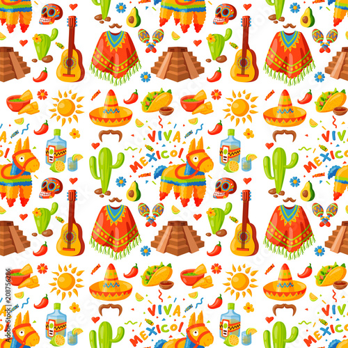 Mexico seamless pattern background vector illustration traditional graphic travel tequila alcohol fiesta drink ethnicity aztec maraca sombrero. © partyvector