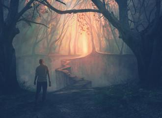 A man and a narrow path