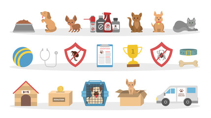 Pets vet icons set.