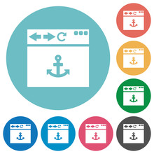 Browser Anchor Flat Round Icons Sticker