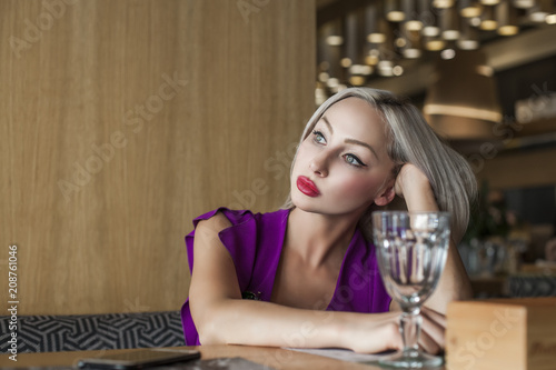 Nice Woman in Restaurant or Cafe