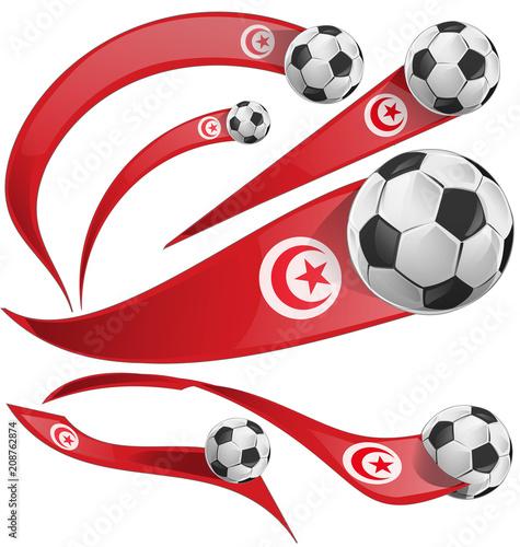 tunisia flag set with soccer ball