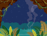 Prehistoric landscape with cave, dinosaurs and night sky.