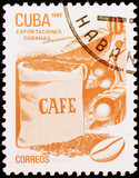 Coffee industry celebrated on cuban postage stamp