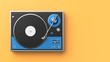 Retro record - vinyl player isolated on colored background.3D illustration.