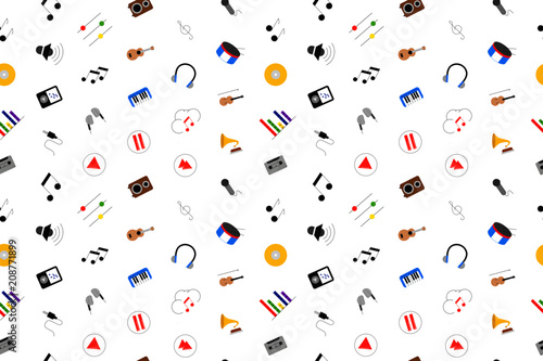 Fototapeta Music background from color icon. Multicolor vector pattern