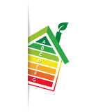 Energy efficiency and rating concept with tilted house and graph bars. Tucked in design with shadow. - 208772416