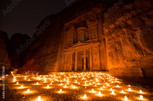 Aluminium Bruin Stars and Candles at the Treasury Facade in Petra Jordan