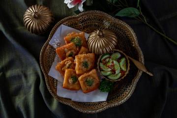 Fried Bread with Minced Pork Spread, Thai food