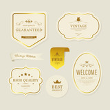 Vintage element banner label and decoration and gold frame. - 208775633