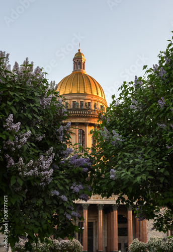 Saint Isaac's Cathedral dome during white nights.
