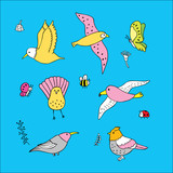 Cartoon cute birds and insect vector.