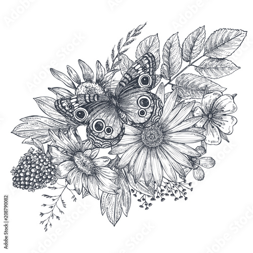 Wreath with hand drawn flowers, leaves and butterfly