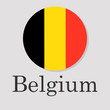 flag of Belgium in the form of a circle isolated on a gray background, the inscription