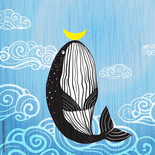 Cute Whale moon and ocean print design. Vector illustration. - 208794611