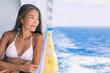Cruise ship vacation bikini woman relaxing on deck. Asian girl in swimwear enjoying ocean view from boat in Caribbean travel holidays.