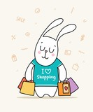 Funny bunny with a lot of colorful packages in green t-shirt. Cartoon flat vector animal illustration poster