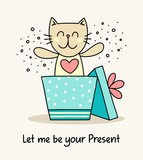Cute kitty have jumped from the gift box like a present. Funny cartoon animal flat vector illustration greeting card