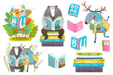 Cute forest animals friends with books studying. Vector illustration. - 208795297