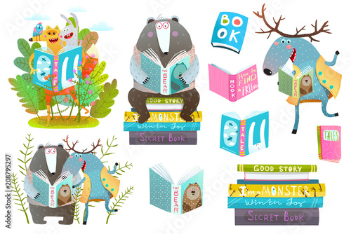 Fototapeta Cute forest animals friends with books studying. Vector illustration.