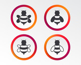 Honey bees icons. Bumblebees symbols. Flying insects with sting signs. Infographic design buttons. Circle templates. Vector - 208796801