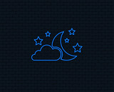 Neon light. Moon, clouds and stars icon. Sleep dreams symbol. Night or bed time sign. Glowing graphic design. Brick wall. Vector