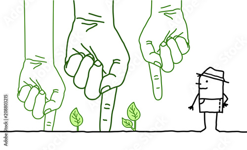 Big Green Hands with Cartoon Character - Planting