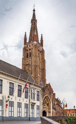 Fotobehang Brugge Church of Our Lady, Bruges, Belgium
