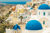 Santorini Island in Greece. Panoramic view. Tourist destination. Summer.