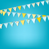 Vector holiday banner with colorful garlands of flags. Celebration background for invitation, festival, birthday - 208807013