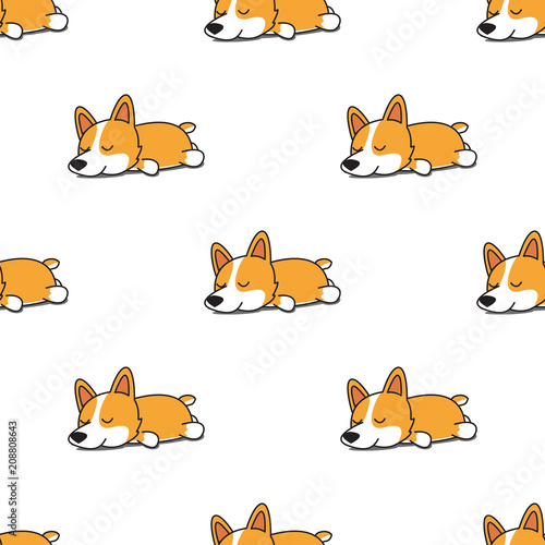 obraz PCV Cute corgi dog sleeping seamless pattern, vector illustration