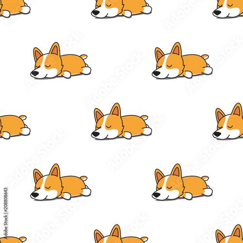 obraz lub plakat Cute corgi dog sleeping seamless pattern, vector illustration