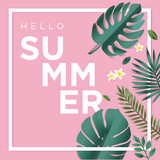 Hello summer vector illustration for background, mobile and social media banner, summertime card, party invitation template. Lettering summer concept with natural elements. - 208809828