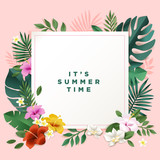 Summer vector illustration concept for background, web and social media banner, summertime card, party invitation template. Lettering summer concept with natural elements. - 208810414