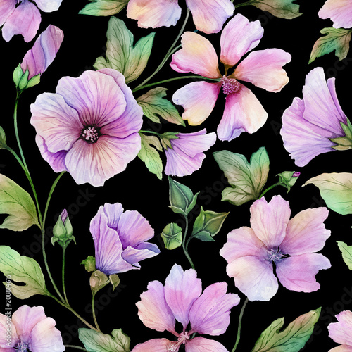 Beautiful lavatera flowers with green leaves against black background. Seamless floral pattern. Watercolor painting. Hand painted illustration. © katiko2016