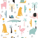 Seamless pattern with African animals and plants. Vector hand drawn illustration. - 208815216