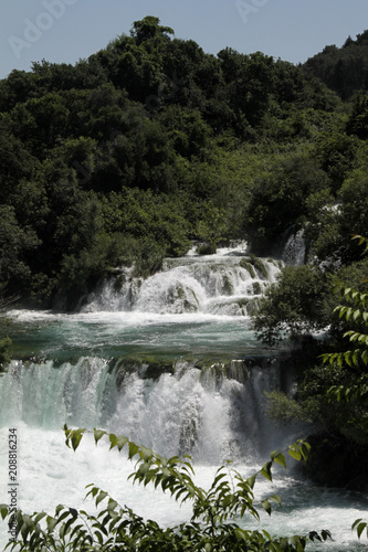 Spectacular waterfalls in Krka national park, Croatia - 208816234
