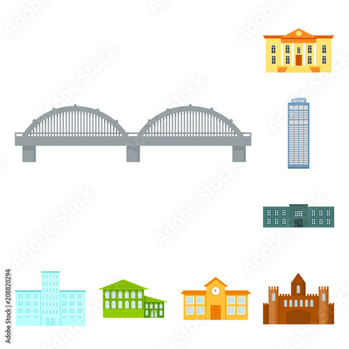 Poster Building and architecture cartoon icons in set collection for design. Construction and Institution vector symbol stock web illustration.